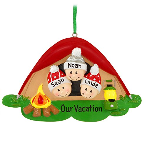 Pop-Up Tent Family made our list of the most unique camping Christmas tree ornaments to decorate your RV trailer Christmas tree with whimsical camping themed Christmas ornaments!