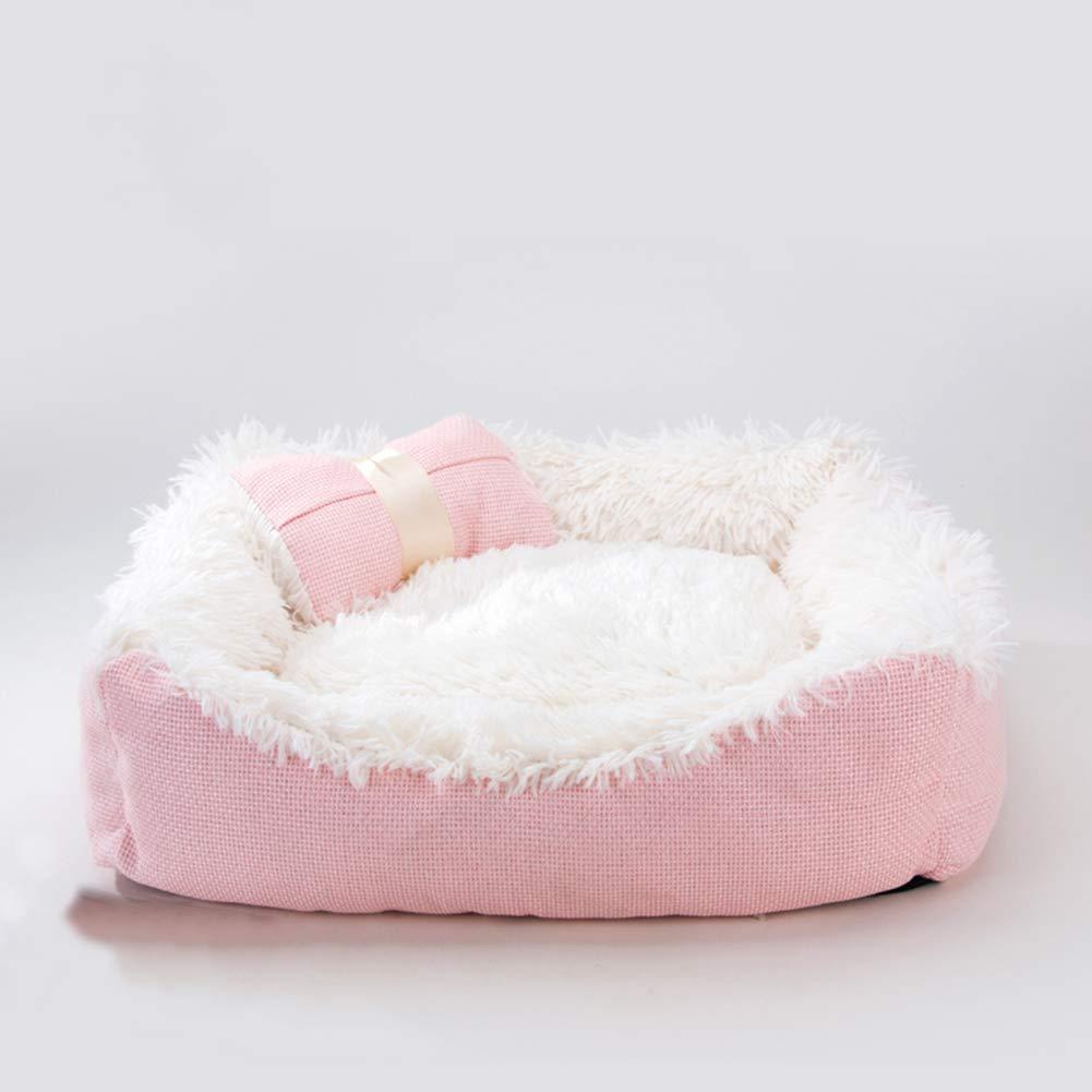 CLEAVE WAVES Letto per Grotta di Gatto Letto rossoondo rosa Peluche Comfort Piatto Profondo Cuddler Letto per Gatti E Cani Cuscino per,S