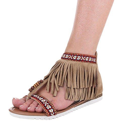 Damen Schuhe, D-1, Sandalen Fransen Zehentrenner Beige
