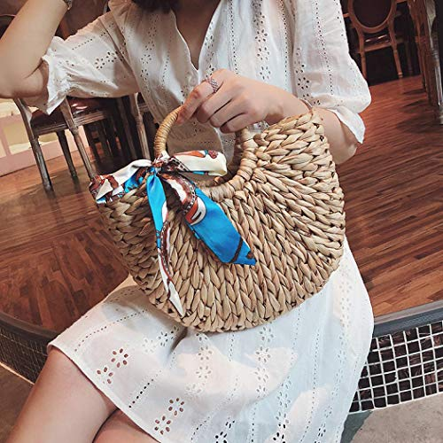 Straw Bag Toto Hobo Retro Summer Brown woven Handle 2 Round Ring Women Large Hand for Beach aqgInwx5vv