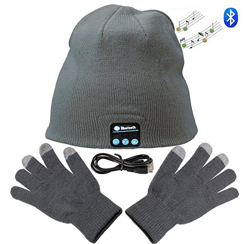 Zonman Wireless Bluetooth Hat Headphones+free Touchscreen Gloves for Fitness Outdoor Sports Walking Christmas Gifts (Unisex Gray)