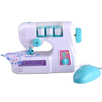 Toyvian Small Size Electric Sewing Machine with Light and Sound DIY Toys for Kids Toddlers