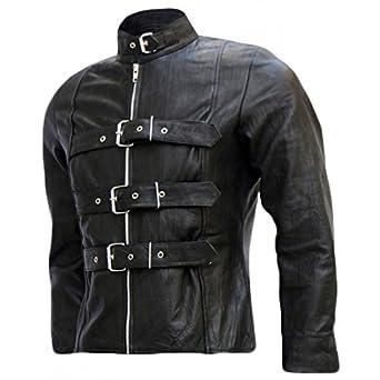 Celebrity Fashion Design Belted Men S Black Leather Biker Jacket