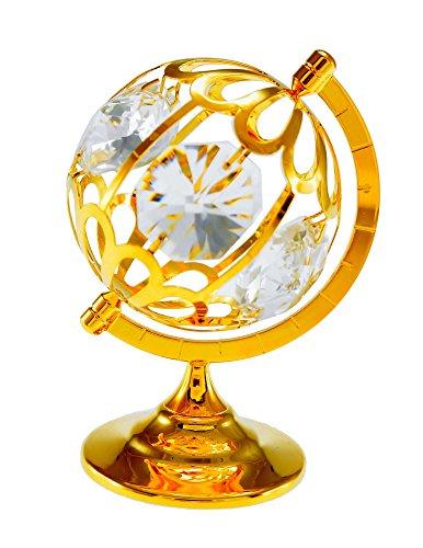 Globe 24k Gold Plated Metal Figurine with Spectra Crystals by (Swarovski Globe)