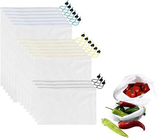 l/égumes 10pcs(Beam port) grands plastique moyens et petits jouets multicolore Hengweiuk Lot de 15 sacs en maille r/éutilisables lavables et /écologiques pour /épicerie fruits