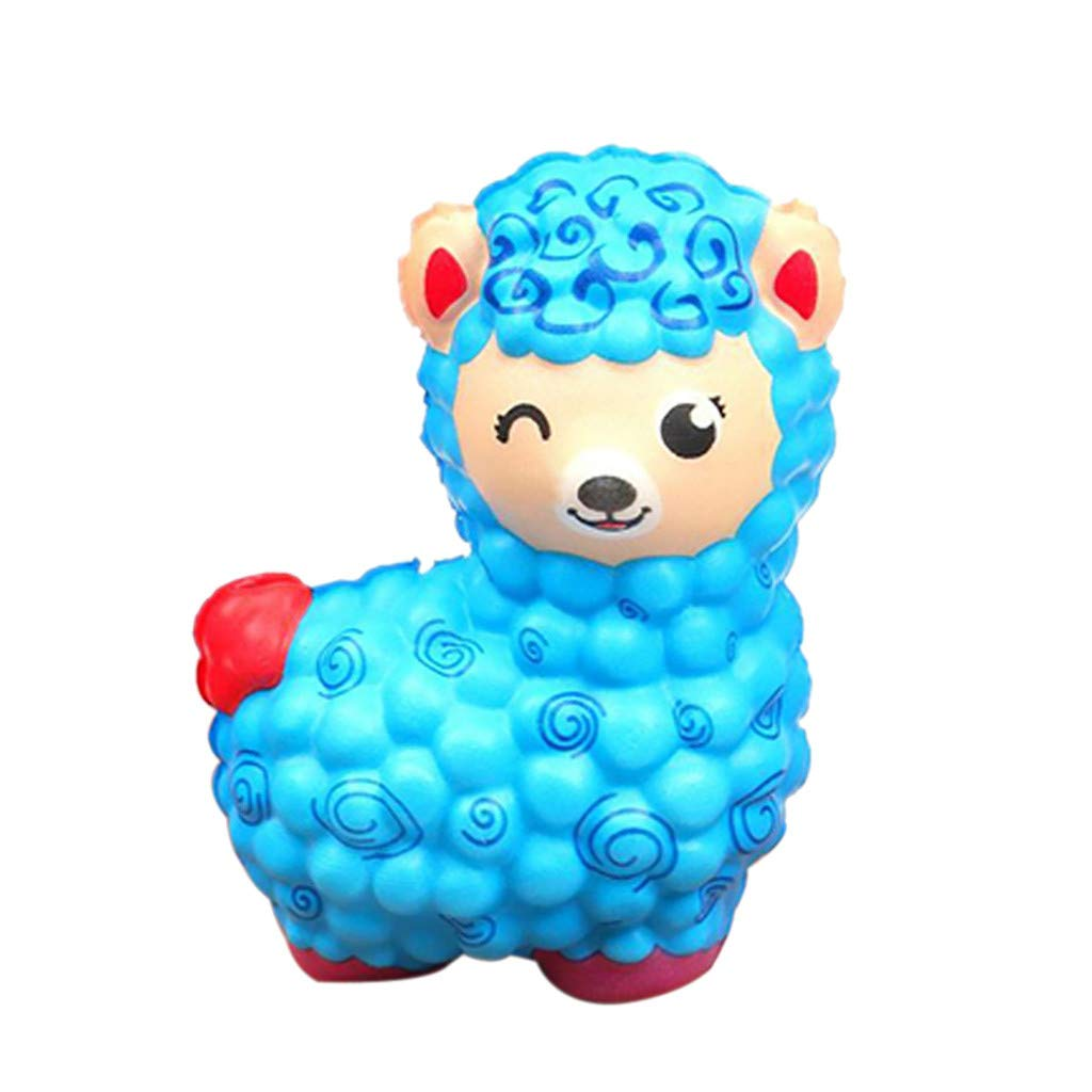 Dianli Squishies Jumbo Multicolor Sheep Anxiety Reliever Scented Sweet Very Slow Rising Kids Squeeze Toy Super Soft Touch For Kids 5 Colors (Blue)