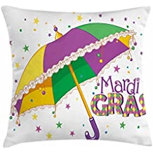 TINA-R Mardi Gras Throw Pillow Cushion Cover, Parade Preparations Umbrella Stars Confetti Figures Joyful Fun Party, Decorative Square Pillow Case, 18 X 18 Inches, Purple Yellow Green
