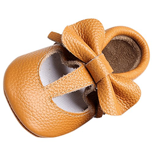 FireFrog Baby Girl Genuine Leather Mary Jane T-strap Bowknot Princess Crib Shoes Kahki 12-18 Months