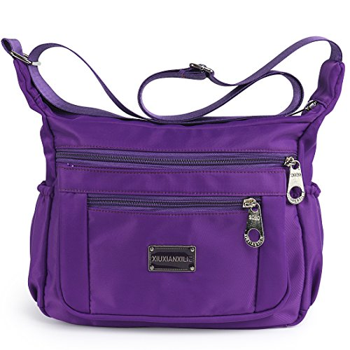 Crossbody Bags for Women Water Resistant Lightweight Nylon With Shoulder Bags (Light purple)