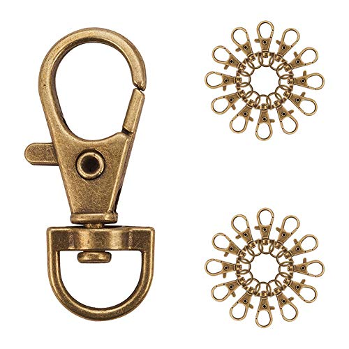 (PandaHall Elite 50 Pieces Metal Lobster Claw Clasps Swivel LanyardsTrigger Snap Hooks Strap 35x13mm for Keychain, Key Rings, DIY Bags and Jewelry Findings Antique Bronze)