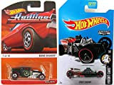 Hot Wheels Edition Cars Redline Bone Shaker Army Green & Exclusive Zamac Street Creeper 2017 Fright Cars in Protective Cases