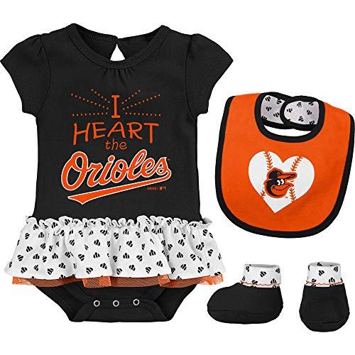 Baltimore Black Sox Baseball - Outerstuff MLB Newborn & Infants Girls Baseball Girl Creeper, Bib, Bootie Set (3/6 Months, Baltimore Orioles)