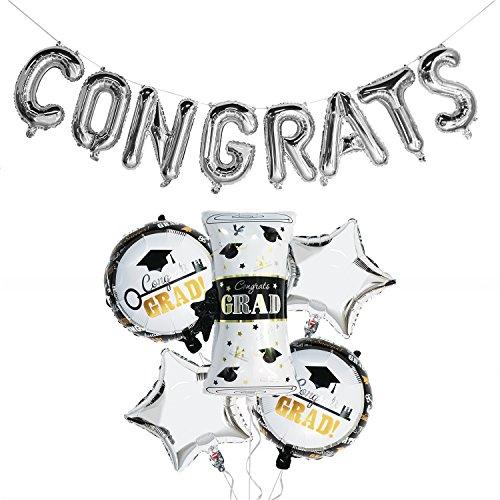Silver Graduation Balloons Kit | Congrats Balloon Banner | Graduation Mylar Balloons | Graduation Foil Balloons | Congrats Grad Balloons, Large Size