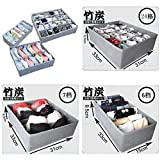 Grastre-Bamboo Charcoal Storage Box with Zipper Storage Box Underwear Bra Storage Box (Pack of 3)