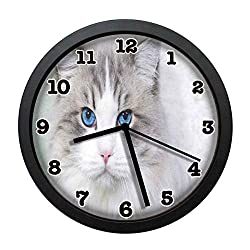 jiushiyigezi-n White Cat with Blue Eyes Individuality Modern Wall Clock, Silent Non-Ticking Quartz Wall Clock for Living Room School Office 10in with Frame