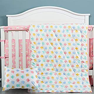 Cloele Toddler Bedding Set-100% Cotton Standard Size 3 Piece Crib Bedding Set,Soft Toddler Bedding-Includes Toddler Pillowcase,Crib Sheet,Baby Blanket-Owl Design for Boys and Girls