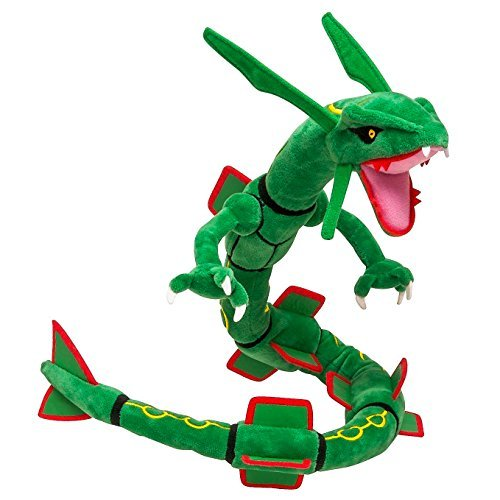 Pokemon Children'S Generic Mega Rayquaza Stuffed Doll with Badges, Green, 31