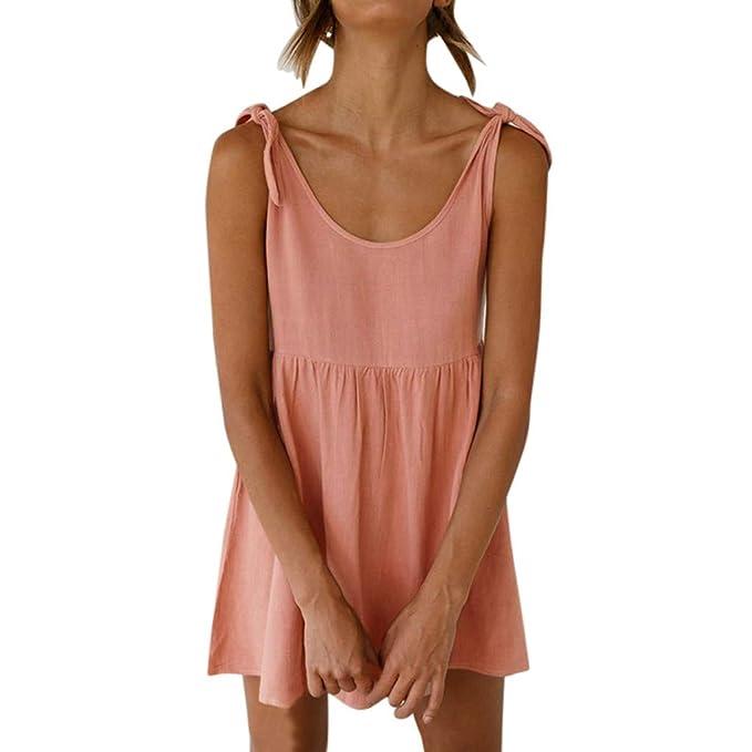 27e9b1bd53b Amazon.com  HHei K Women Sexy Pure Color Cotton Linen Short Dress Summer  Lace-up Casual Ruched High Waist Mini Sling Dress  Clothing