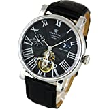 [Fortuna] Mechanical Automatic Watches Hand-rolled Sun and Moon Skeleton Italian Leather Strap Men Business Casual Luxury