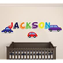 "Custom Name Cars - FunnyKid Series - Wall Decal - Baby Boy Girl Unisex Decoration - Mural Wall Decal Sticker For Home Interior Decoration Car Laptop (MM38) (Wide 22"" x 8"" Height)"