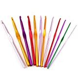 12 Sizes Aluminum Crochet Hook Needles Set in Pouch