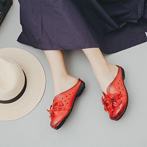 Baotou De Cuero Planas Mujer Parte Inferior Artificial Cómodo Ocio Red Para Scloths Flores Suave The U1Httq