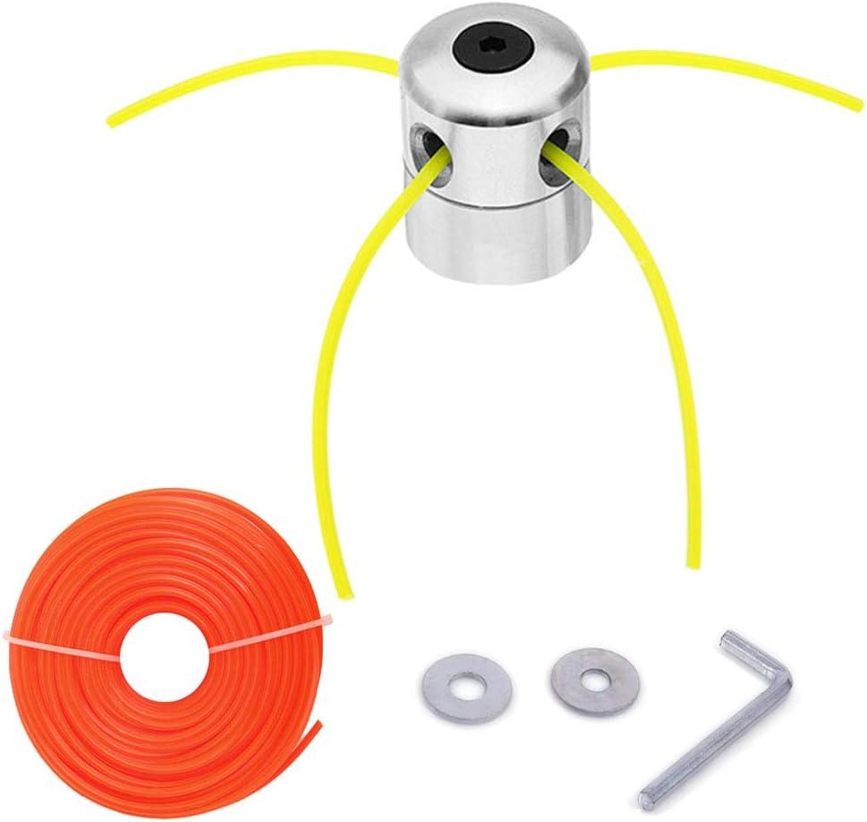 Anyasen Cabezal Desbrozadora Cuerda de Aluminio Cabeza Cortadora de Césped Cabeza Hilo de Nylon Hilo Desbrozadora con 4 Hilo (2,4 mm, Amarillo) y 15 m Hilo de Repuesto (3,0 mm, Naranja, Cuadrado)