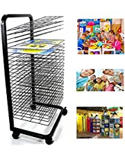 Drying Rack, 25-Shelf Mobile Art Drying Rack with Wire Shelves for Works of Art, Black Powder Coated Finish,Ideal for Schools and Art Clubs