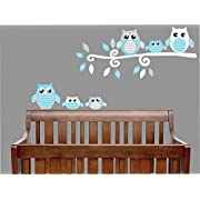 Blue Owl Wall Decals / Owl Stickers / Owl Nursery Wall Decor (Grey and Blue Owl Wall Decals)