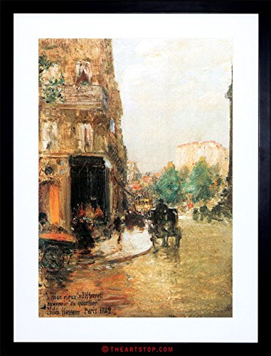 Wee Blue Coo Painting Hassam Parisian Street Scene Two Framed Picture Art Print F97X8710