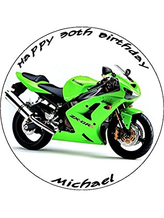 Personalised Green Motorbike Edible Icing Round Birthday Party Cake Topper