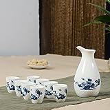 """Service à saké, coupe à saké japonais traditionnel Ensemble peinte à la main """"Classic"""" Pivoine Motif porcelaine poterie en céramique Tasses Crafts Verres à vin 5pièces"""