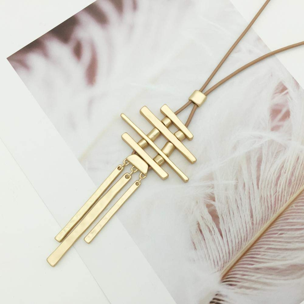 Davitu Fashion Personalized Stick Long Necklace Gold//Silver Color Collar Vertical Bar Pendant Necklace for Women//Men Summer Jewelry Metal Color: Silver