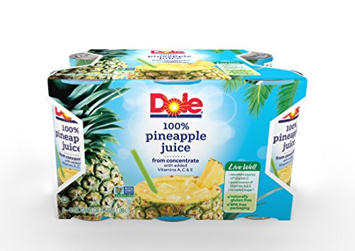 DOLE 100% Pineapple Juice 6 Ounce Can Pack of 48