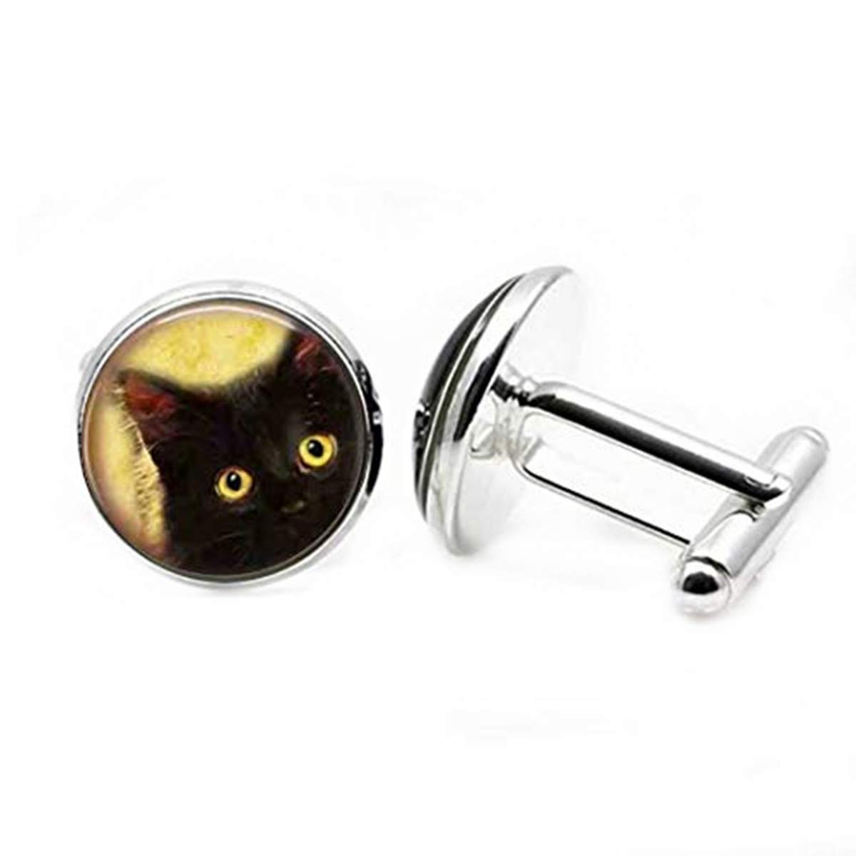 Dandelion Innocent Cat on a Monochrome Background Illustration Cufflinks,Popular Glass Cufflinks,Nice Cufflinks Gift