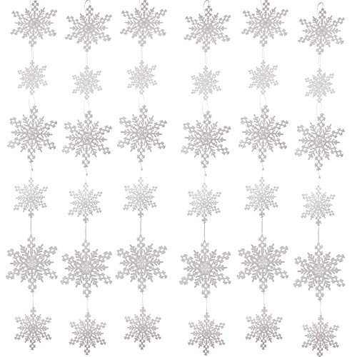 - BANBERRY DESIGNS Hanging White Snowflake Garlands - Set of 6 Strands of Glittery Snowflakes - 6 White Glitter Snow Flakes on Each String- Winter Window Decor