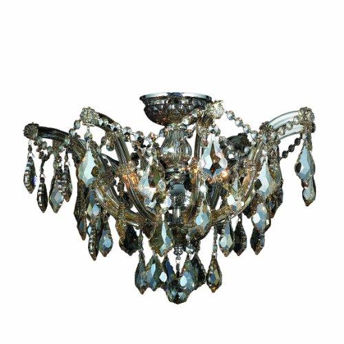 Worldwide Lighting Bayou Collection 6 Light Chrome Finish and Golden Teak Crystal Semi-Flush Mount Ceiling Light 20
