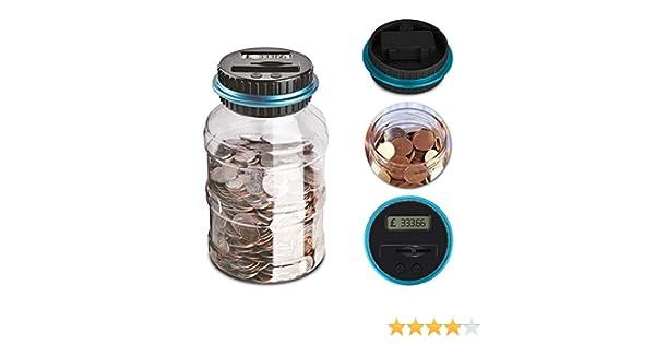 NoyoKere El Contador electrónico de la Moneda de 1.8L / la Cuenta del LCD Digital de la Moneda/la Caja del Ahorro de la Moneda conserva la Caja de ...