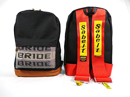 (Bride JDM Racing Backpack Racing Harness Shoulder Straps Zipper Pockets w Padded Computer Compartment (Sabelt Res Straps))