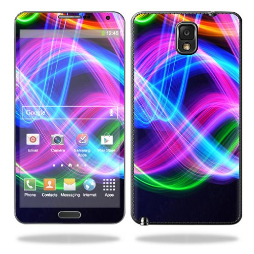 MightySkins Protective Vinyl Skin Decal Cover for Samsung Galaxy Note 3 III N9000 Sticker Skins Light Waves