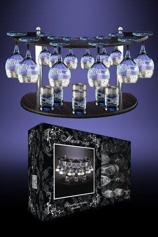 Crystal Goose GX-01-411/19, Set of 6 Wine Glasses, 6 Sherry Liqueur Glasses and 6 Vodka Shot Glasses with Greek Key Design + Stand, Glassware with Platinum-Plated Sputtering, Gift Box Set of 19