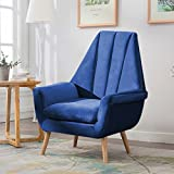 Warmiehomy Modern Velvet High Wing Accent Chair Bedroom Living Room Armchair Occasional Chair with Solid Wooded Legs (Midnight Blue)