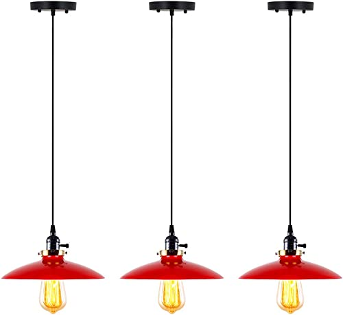 T A UFO Industrial Pendant Lights Edison Vintage Style,3 Light Kitchen Antique Brass Hanging Lighting Fixture Red