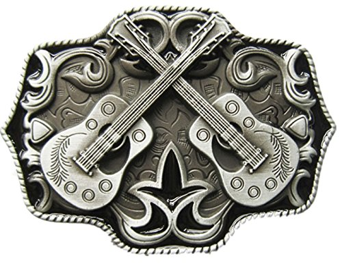 New Vintage Western Country Cross Guitar Music Belt Buckle (With Enamel) - Guitar Belt Buckle