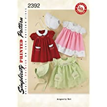 Simplicity Sewing Pattern 2392 Babies' Vintage Layette, A (X-Small - Small - Medium - Large)