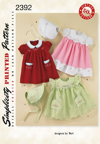 Simplicity Baby Dresses and Bonnets Sewing Patterns, Sizes 1-18 -