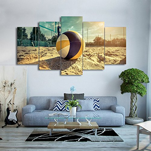 [Small] Premium Quality Canvas Printed Wall Art Poster 5 Pieces/5 Pannel Wall Decor Beach Volley Painting, Home Decor Pictures - Stretched