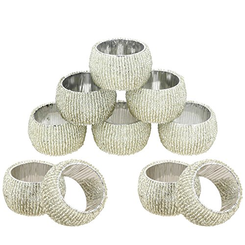 Prisha India Craft Beaded Napkin Rings Set of 10 Silver Decorations Christmas Ornaments, Perfect for Dinners, Parties, Weddings - Artisan Crafted in India - GIFT ITEM