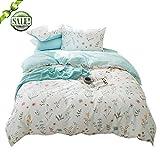 fendie Home Reversible juego de cama funda de edredón con 2fundas de almohada de algodón puro, planta patrón de flores juego de cama con cierre/lazos, estilo2, Twin(1 Duvet Cover + 2 Pillow Shams)