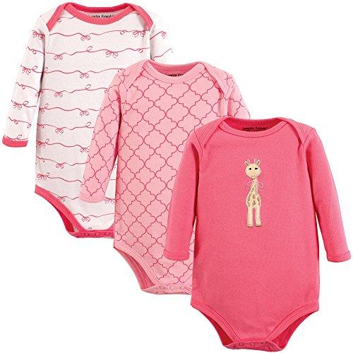 Luvable Friends Baby Girls' Long Sleeve Bodysuit 3 Pack, Giraffe, 0-3 Months